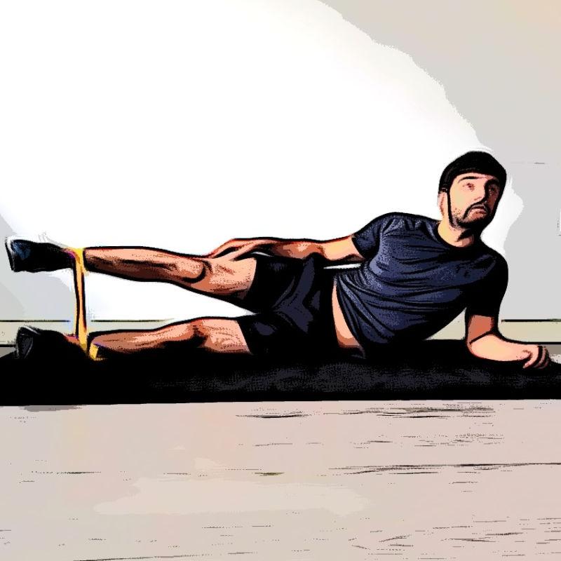 Abduction position allongée avec élastique - Etape 1