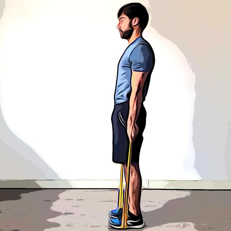 Soulevé de terre jambes tendues avec élastique - Etape 3