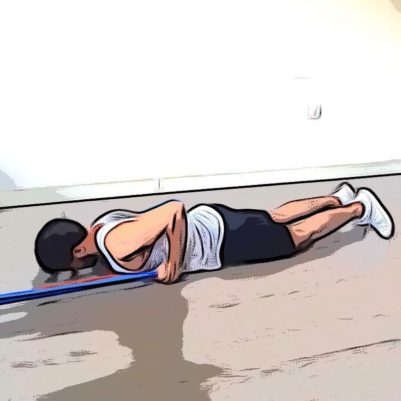 Extension triceps allongé avec élastique - Etape 1