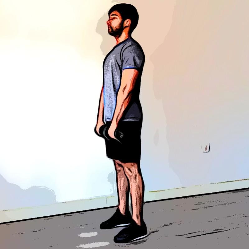 Soulevé de terre à une jambe haltère - Etape 1