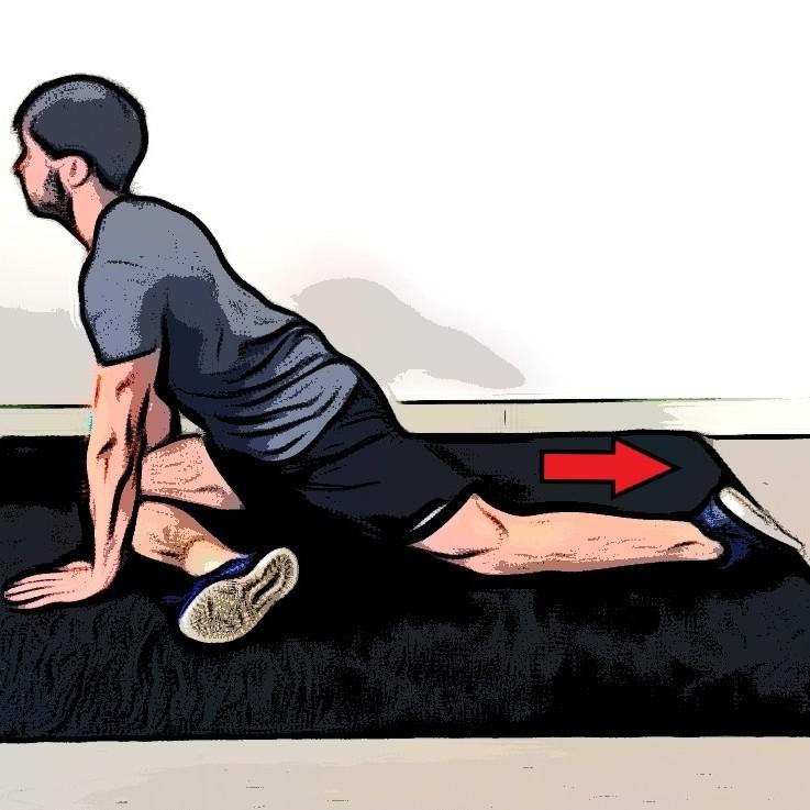 Étirement du fessier avec écart et rotation de la hanche - Etape 2