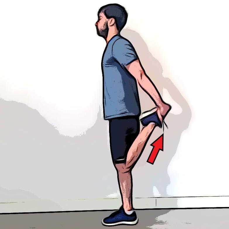 Étirement des quadriceps debout jambe repliée tenue par les mains - Etape 2