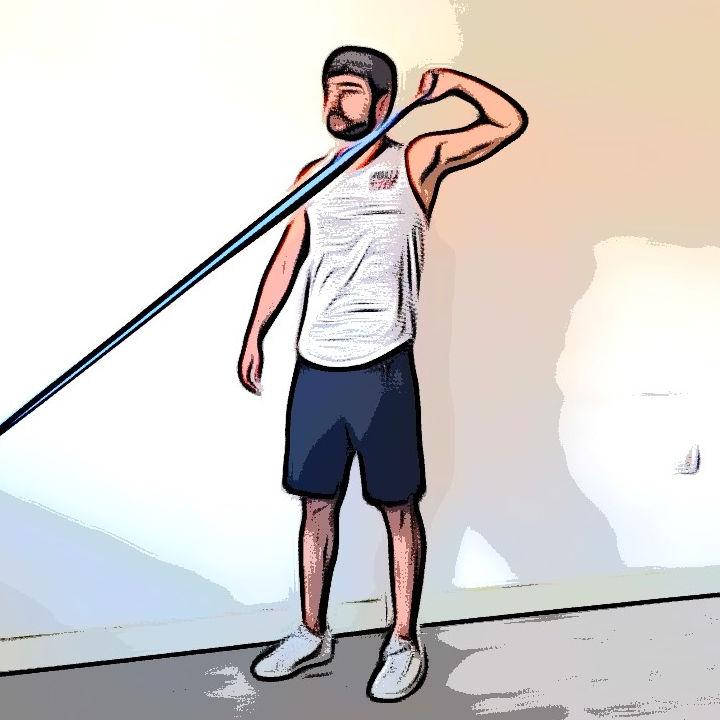 Tirage combiné à rotation externe de l'épaule avec élastique - Etape 3