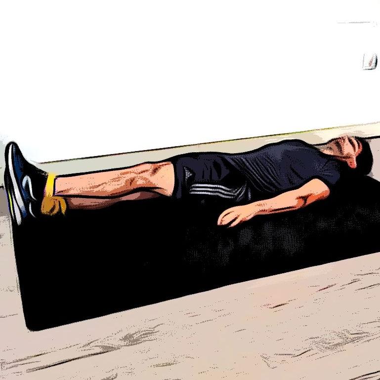 Levé de jambe avec élastique - Etape 3