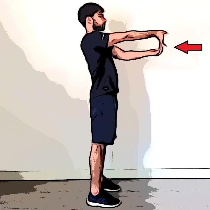 Étirement biceps bras tendu devant - Etape 2