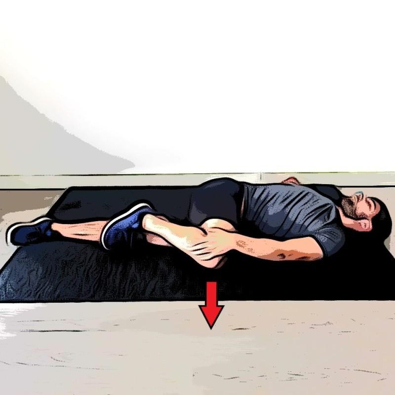 Étirement des fessiers avec torsion de la colonne vertébrale - Etape 2