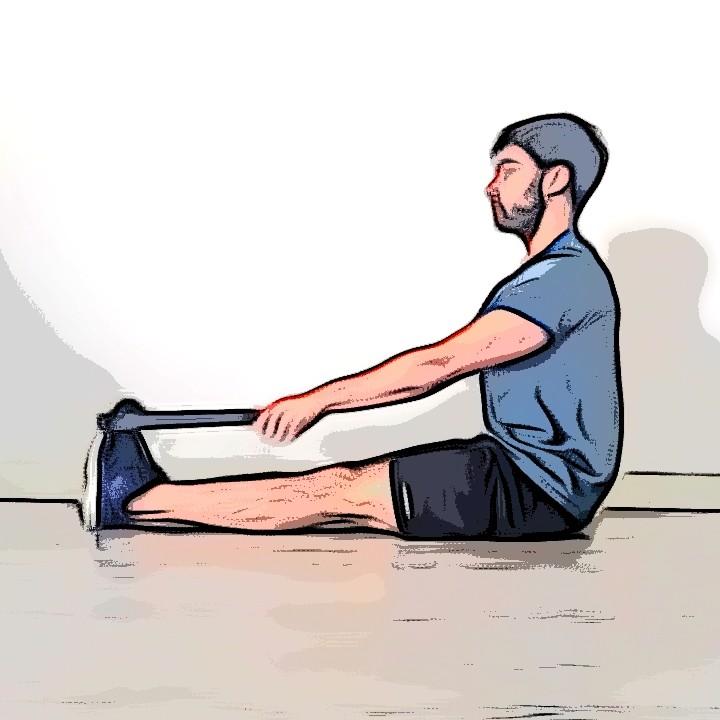 Étirement mollets jambes tendues à l'aide d'un objet - Etape 1