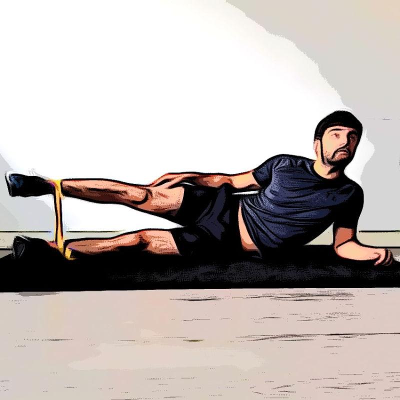 Abduction position allongée avec élastique - Etape 3