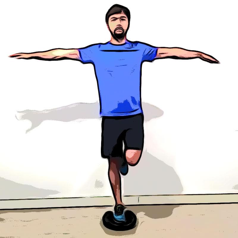 Équilibre une jambe