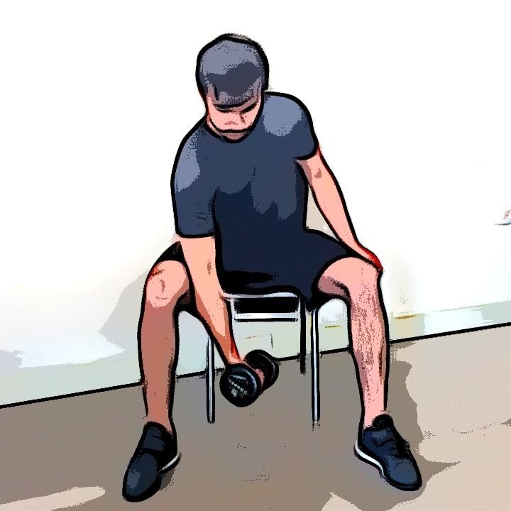 Curl biceps concentré - Etape 1