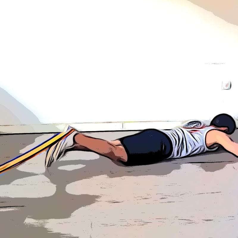 Leg curl allongé avec élastique - Etape 1
