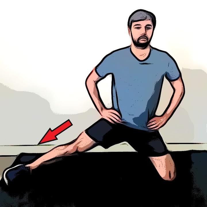 Étirement adducteurs unilatéral à genoux - Etape 2