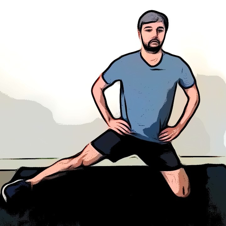 Étirement adducteurs unilatéral à genoux - Etape 1