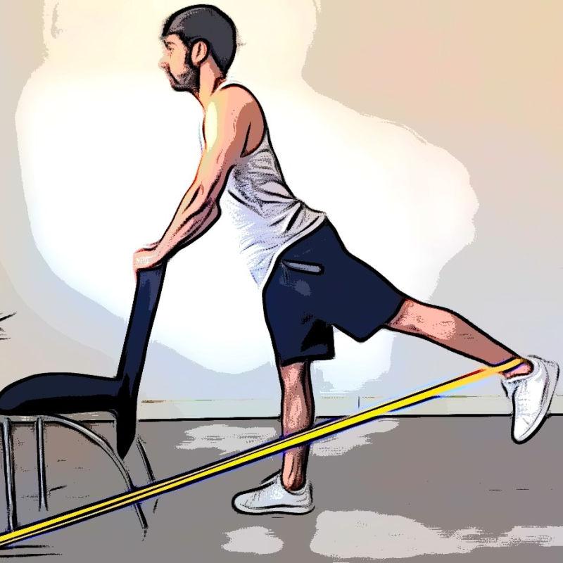 Extension de la hanche en position debout avec élastique - Etape 2