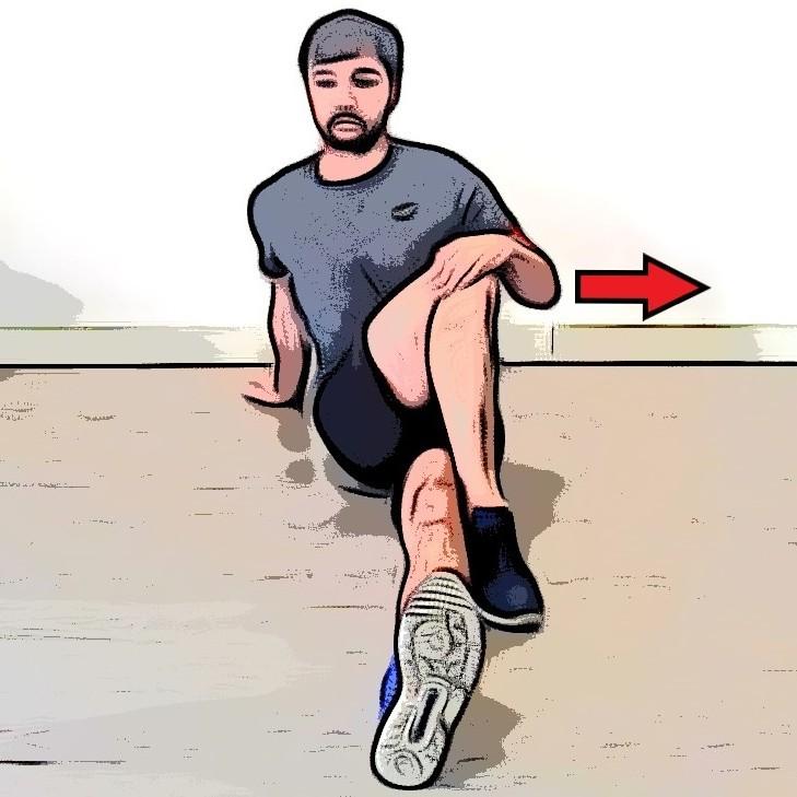 Étirement fessiers jambes croisée assis - Etape 2