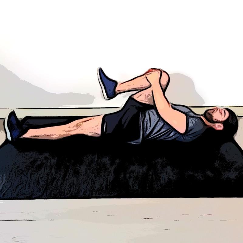 Étirement des fessiers allongé, une jambe replié