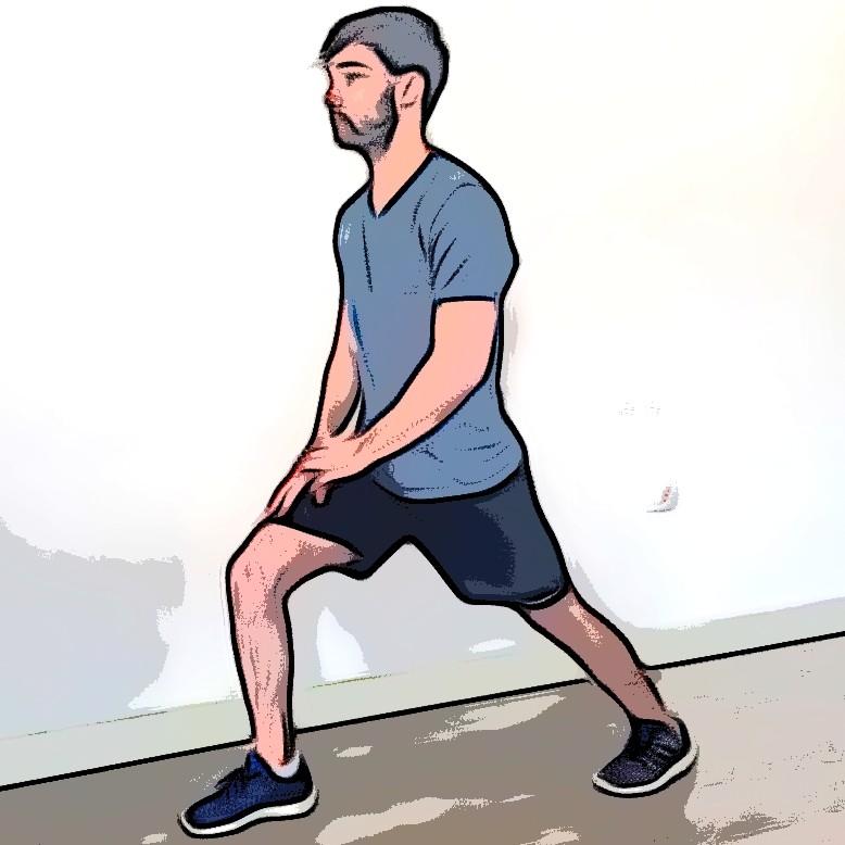 Étirement mollets debout avec appui sur le genou - Etape 1