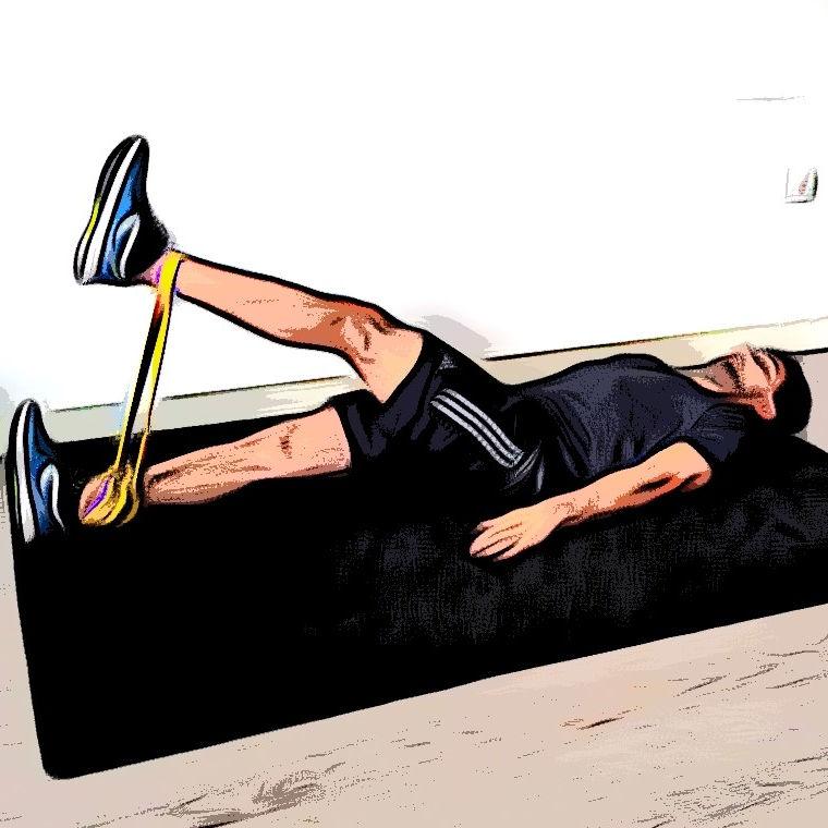 Levé de jambe avec élastique