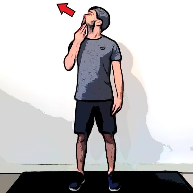 Étirement du coup rotation lever de menton - Etape 2
