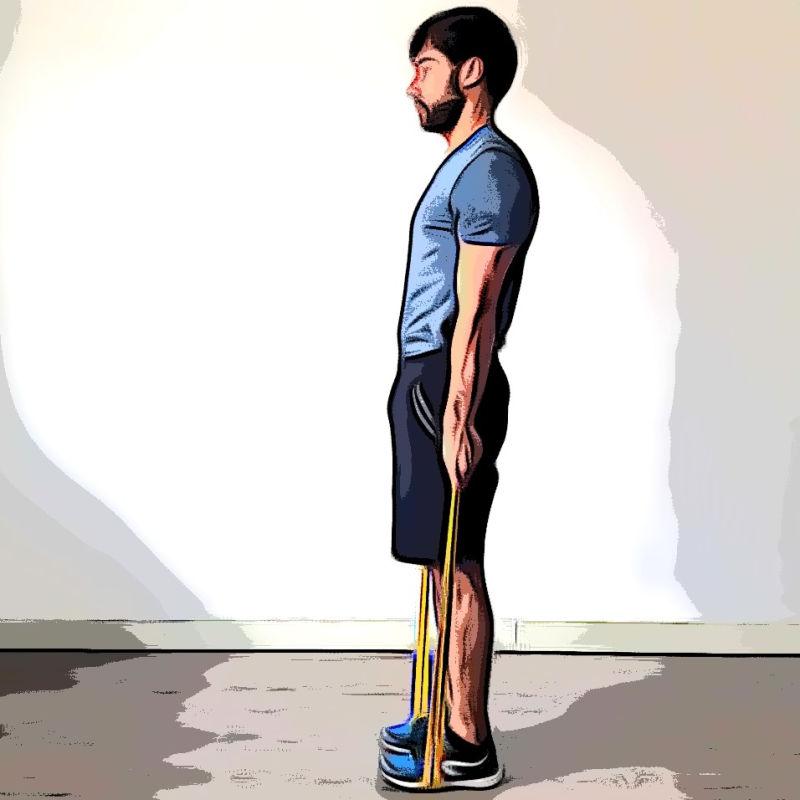 Soulevé de terre jambes tendues avec élastique - Etape 1