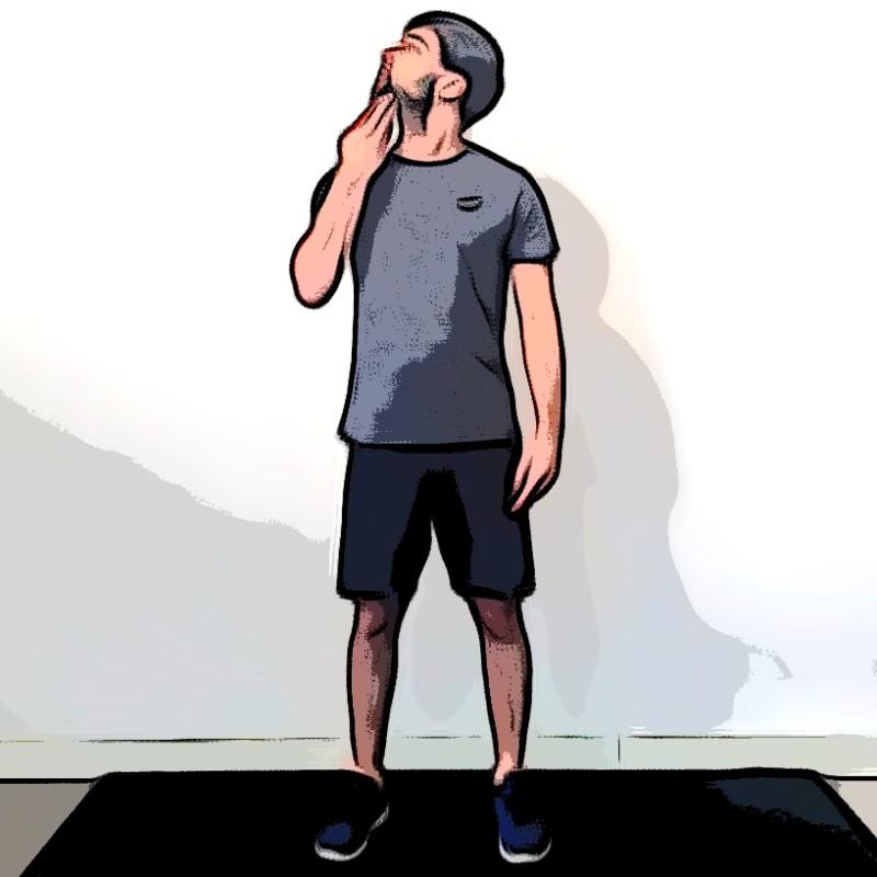 Miniature Étirement du coup rotation lever de menton