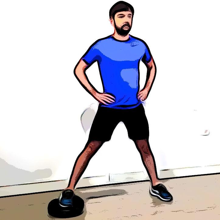Side squat avec un coussin d'équilibre - Etape 3