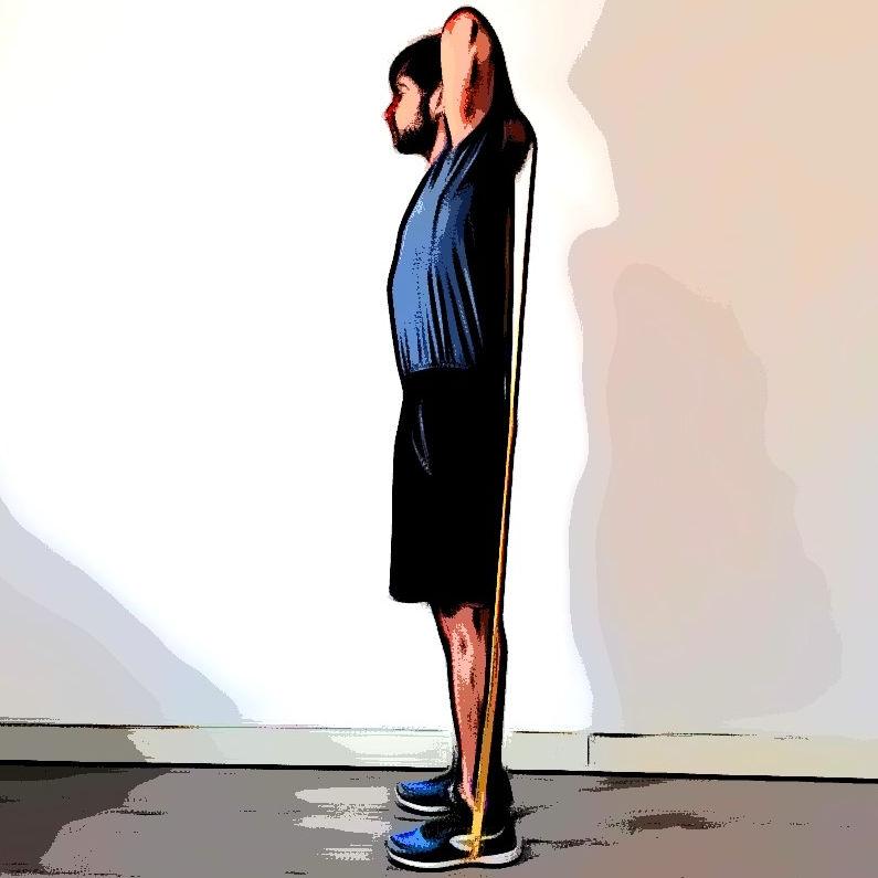 Extension triceps avec élastique - Etape 1