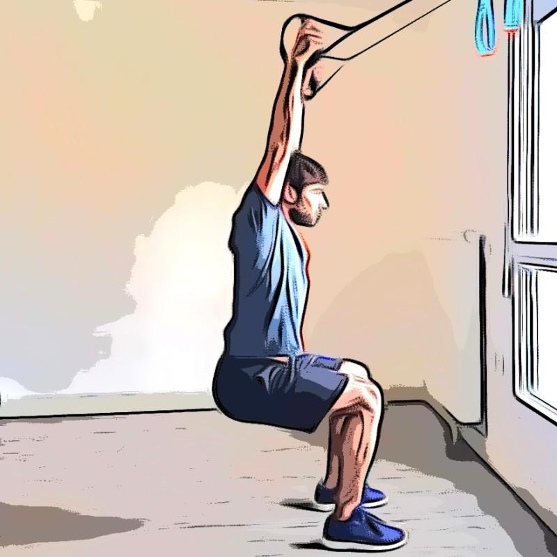 Miniature TRX overhead squat