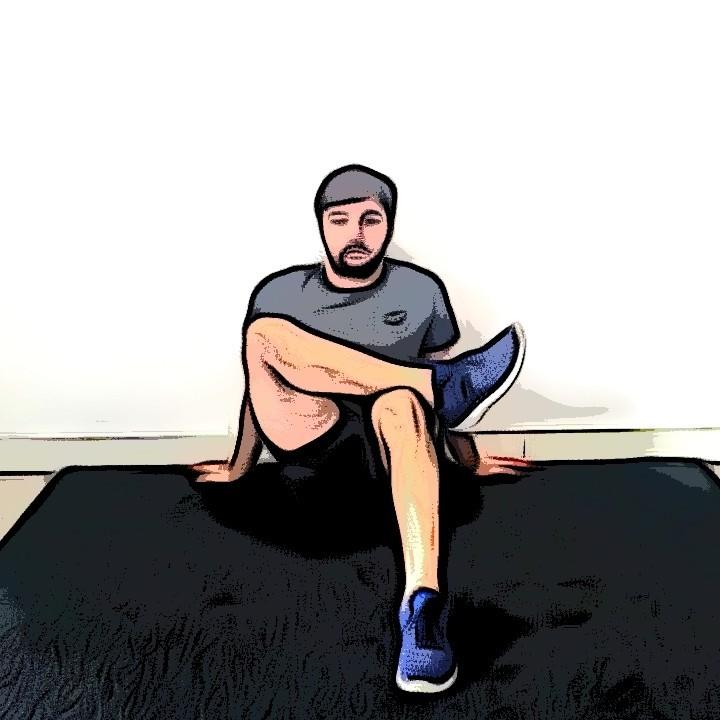 Miniature Étirement des fessiers assis avec rotation de la hanche