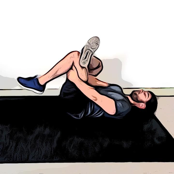 Étirement des fessiers sur le dos avec rotation de la hanche - Etape 1