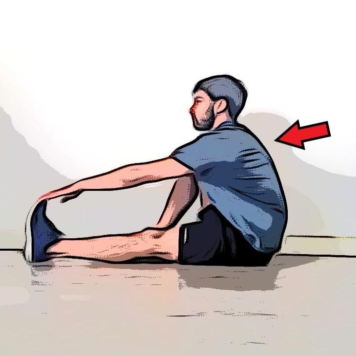 Étirement mollets assis jambes tendues - Etape 2