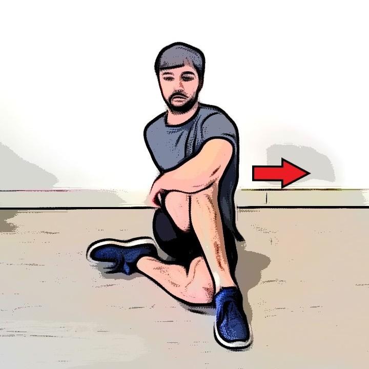 Étirement des fessiers assis jambes repliées - Etape 2