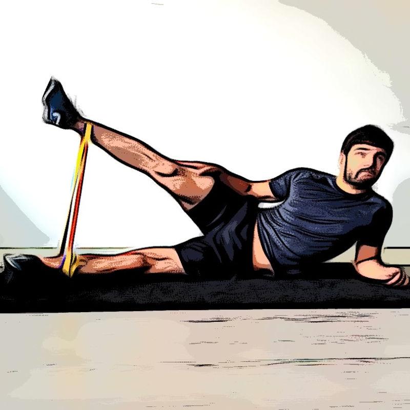 Abduction position allongée avec élastique
