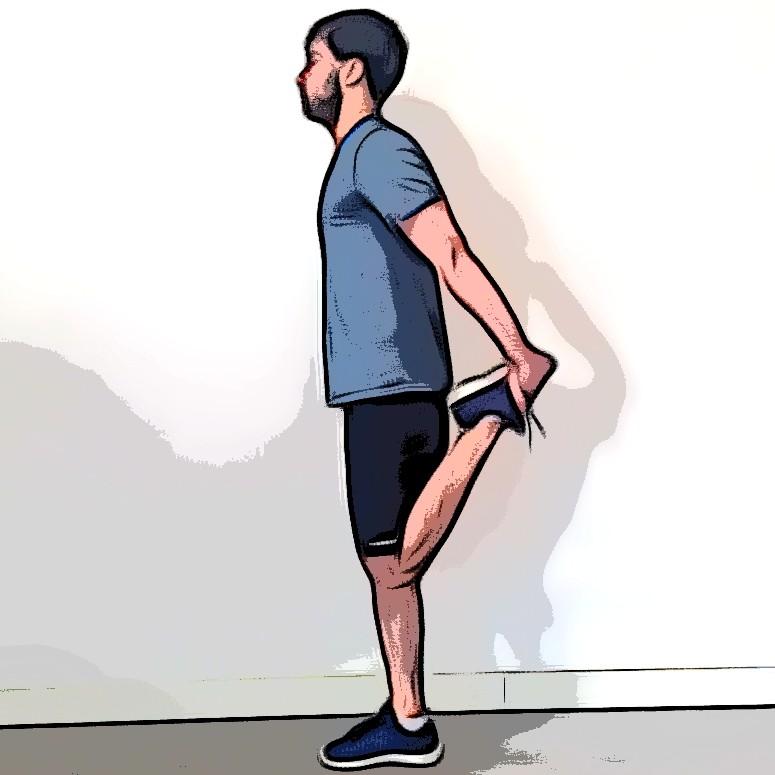 Étirement des quadriceps debout jambe repliée tenue par les mains