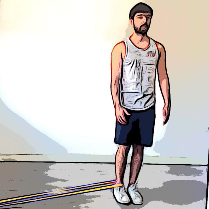 Adduction debout avec élastique - Etape 2