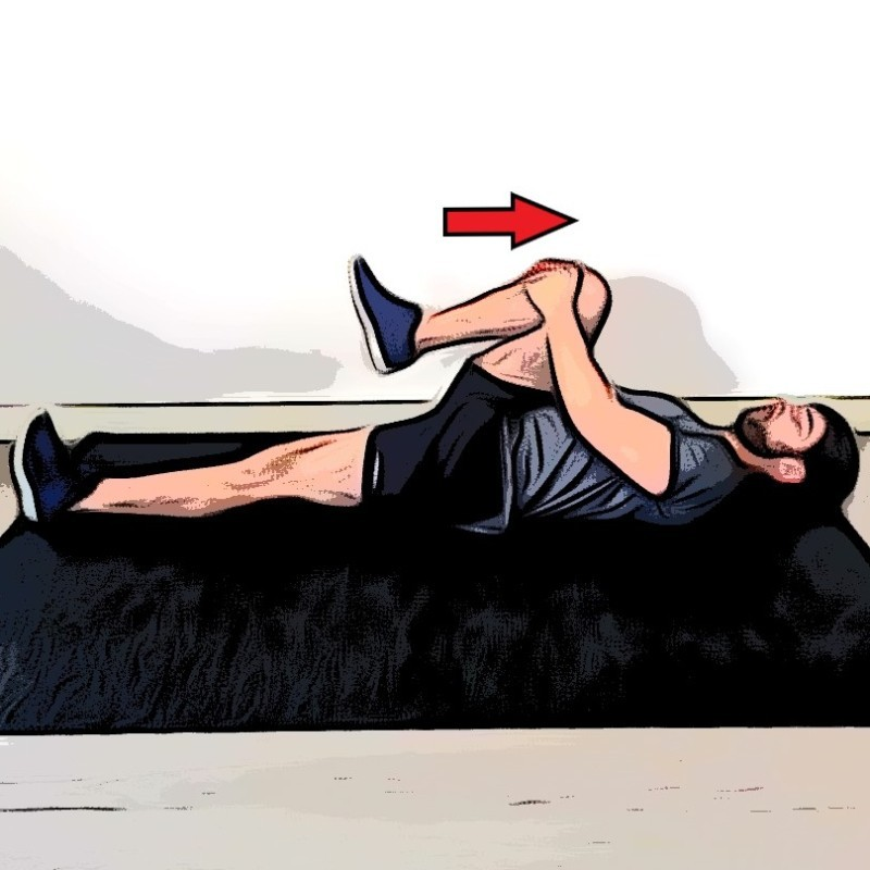 Étirement des fessiers allongé, une jambe replié - Etape 2
