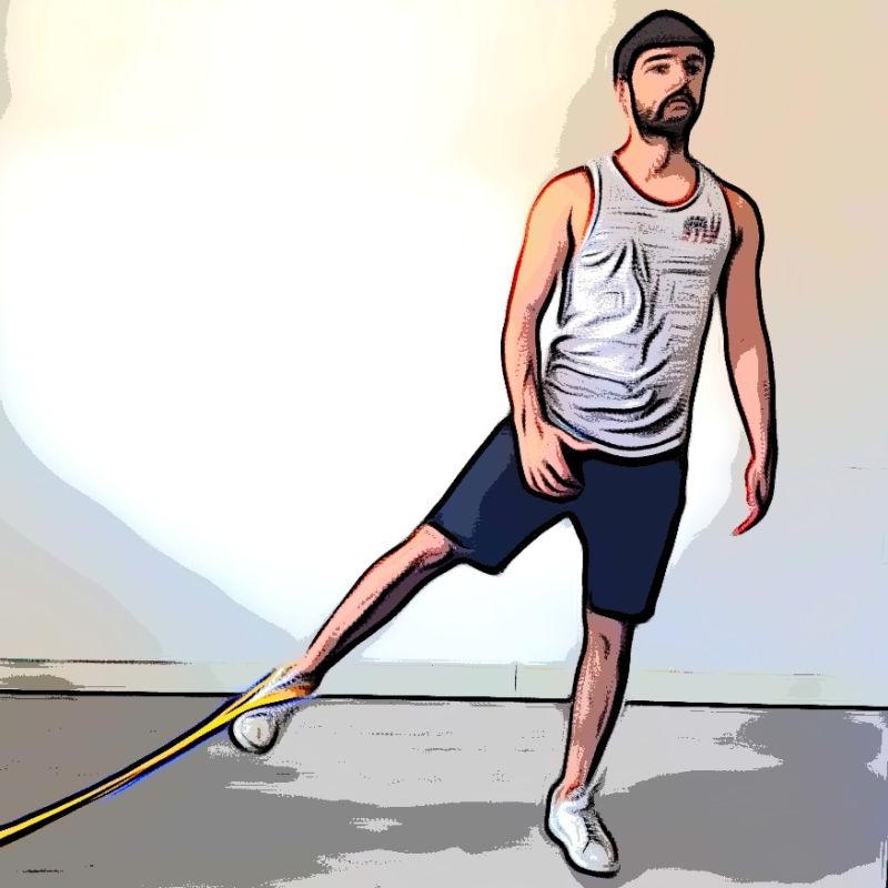 Adduction debout avec élastique - Etape 3