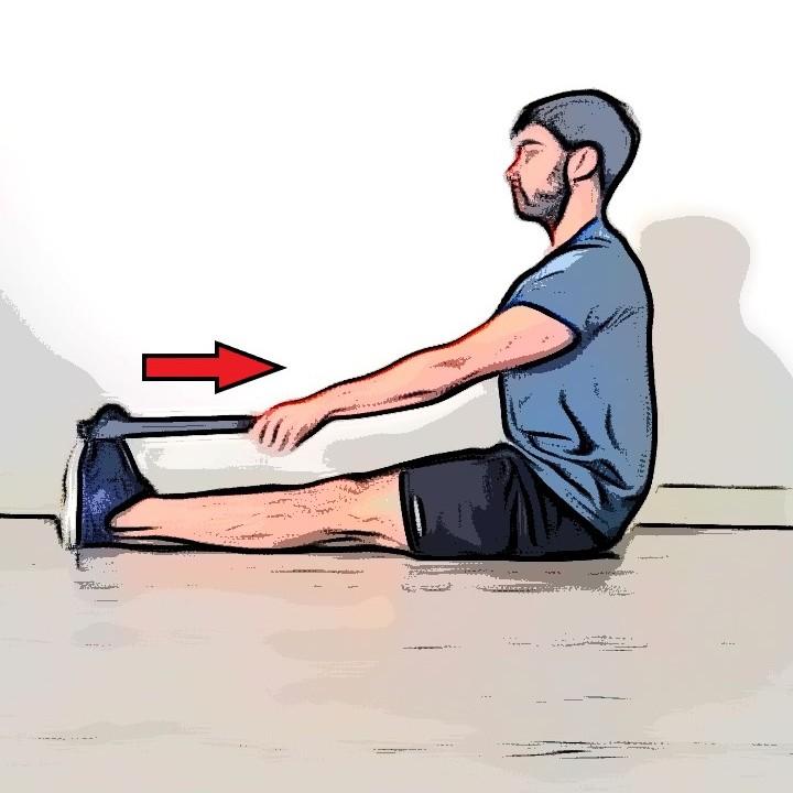 Étirement mollets jambes tendues à l'aide d'un objet - Etape 2