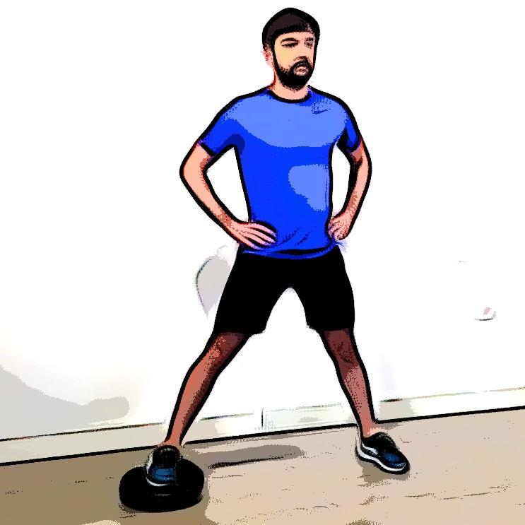 Side squat avec un coussin d'équilibre - Etape 1