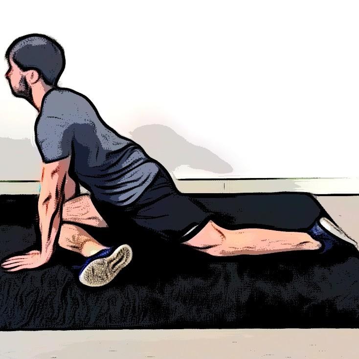Miniature Étirement du fessier avec écart et rotation de la hanche