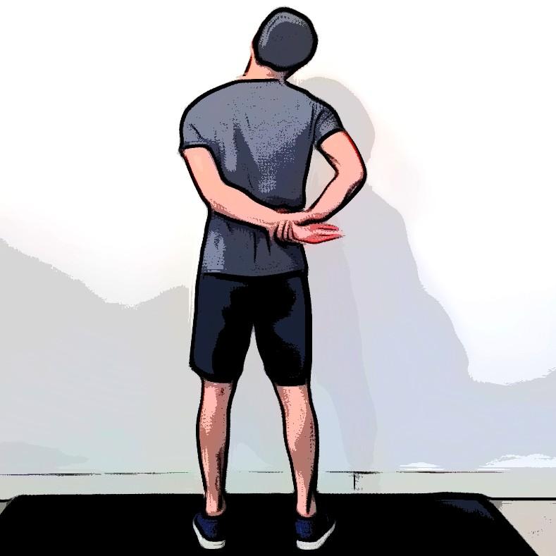 Miniature Étirement trapèzes nuque bras dans le dos