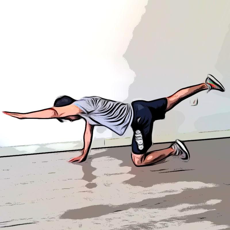 Extension de jambe/bras au sol - Etape 2