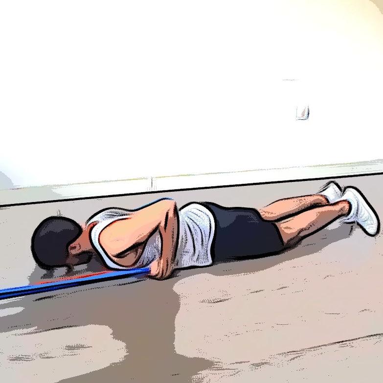 Extension triceps allongé avec élastique - Etape 3