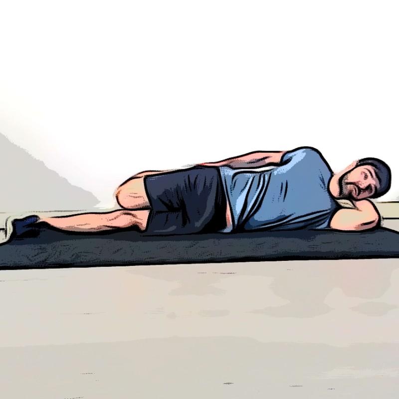 Étirement du quadriceps allongé sur le côté - Etape 1