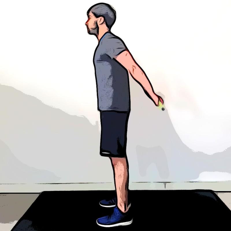 Étirement des deltoïdes à la barre dans le dos - Etape 1