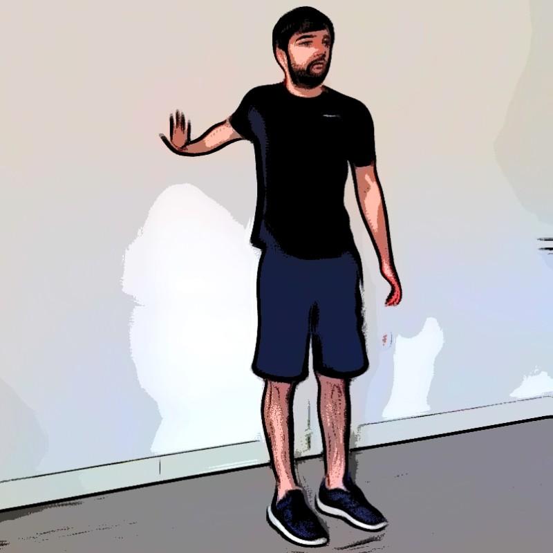 Étirement biceps bras tendu vers l'arrière