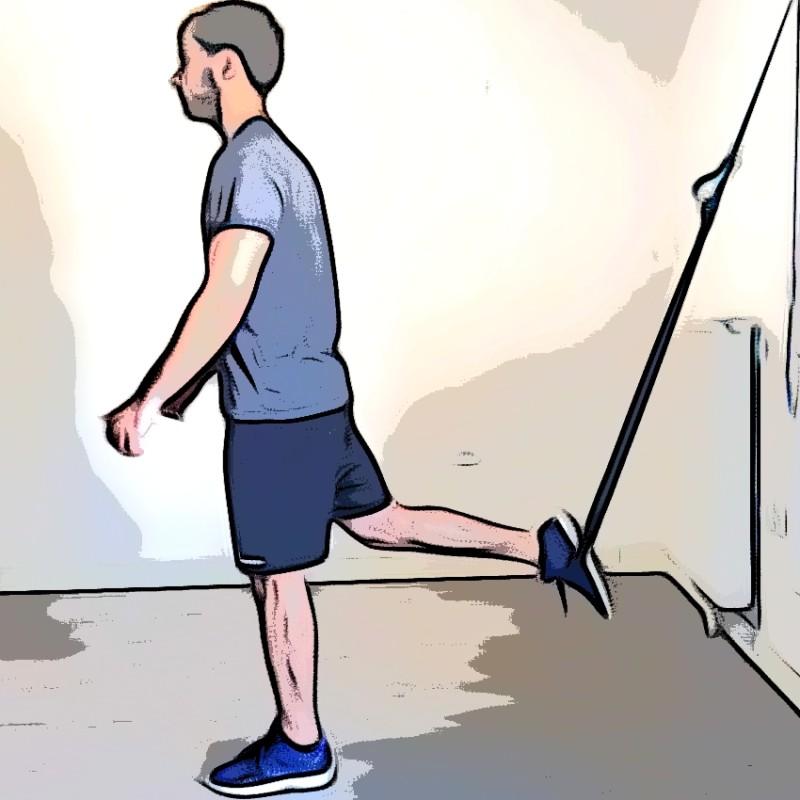 Étirement des quadriceps avec TRX pied dans la sangle - Etape 1