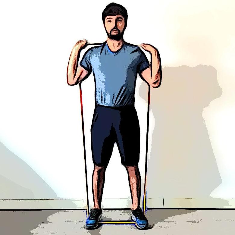 Squat avec élastique - Etape 3